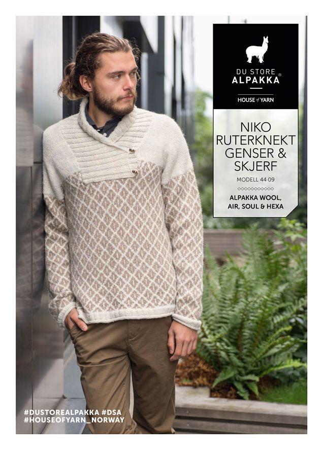 ed7423b6 Dagens gratisoppskrift: Niko ruterknekt genser & skjerf |  Strikkeoppskrift.com