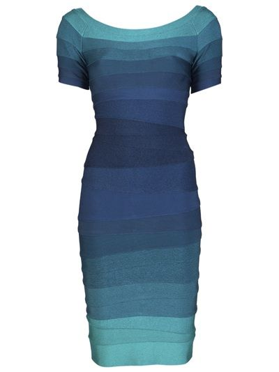Johanna off-shoulder ombre dress in aqua from Herve Leger. This stretch bandage dress features a wide off-shoulder neckline, short sleeves, ombre stripe panels, and back concealed zipper closure.