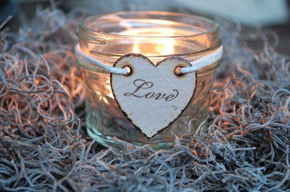 5 Mason Glass Jar Rustic Candle Holders with by weddingsbyjennifer, $45.00