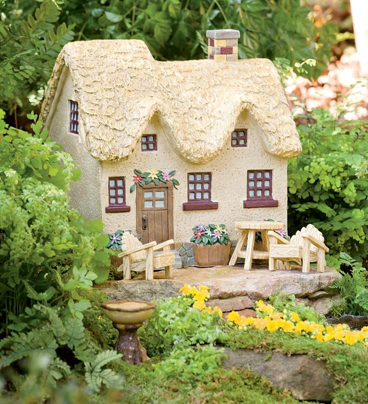 Resin Flower Box Fairy Cottage Garden Accent And Adirondack Furniture Accessory Set