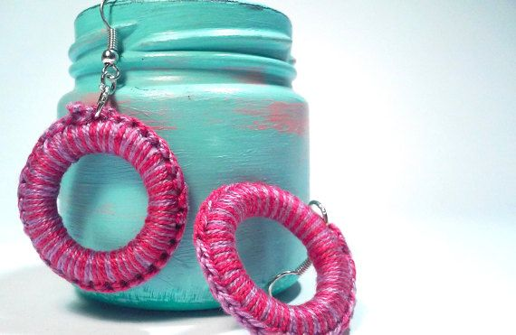 Dangle Magenta Earrings, Magenta & Light Purple Cotton Yarn, Hoop Earrings, Modern Jewelry, Hippie- Girlie Style, Casual Look, Happy Mood