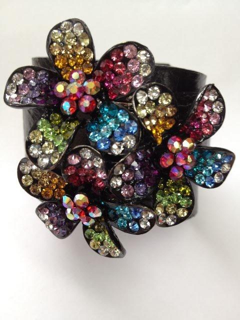 Floral glitz leather cuff!