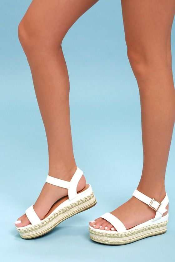 478e790c795 Cecilio White Espadrille Flatform Sandals in 2019