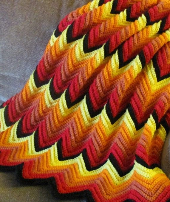 Flames Crochet Zig Zag Blanket - My mom and I made one of these. It was pinks and maroon. Very pretty.