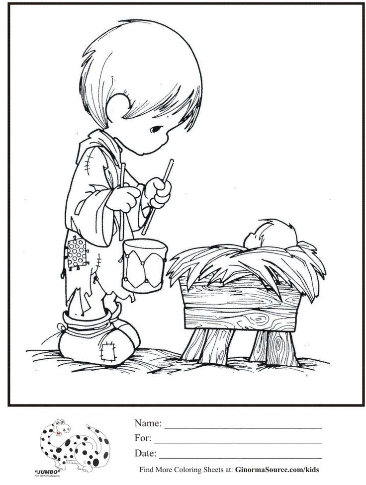 Kids Coloring Page Precious Moments Little Drummer Boy Baby Jesus Sheet