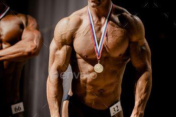 bodybuilder athlete gold medal