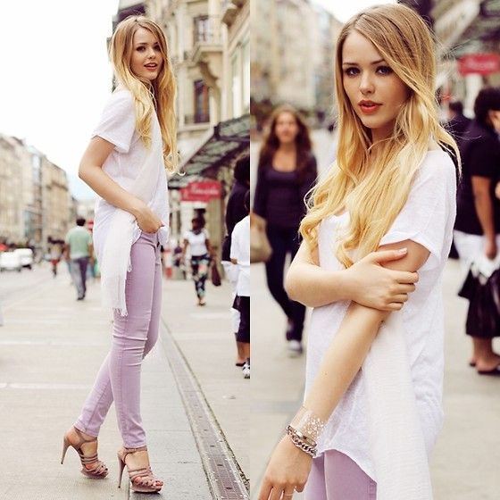 LAVENDER GUESSS JEANS (by Kristina Bazan) http://lookbook.nu/look/3761927-LAVENDER-GUESSS-JEANS