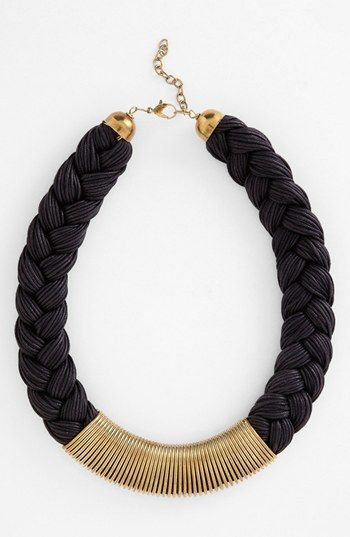 Black & gold Braided collar necklace.