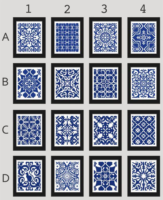Navy Blue Wall Art Blue White Art Home Decor Set by ...
