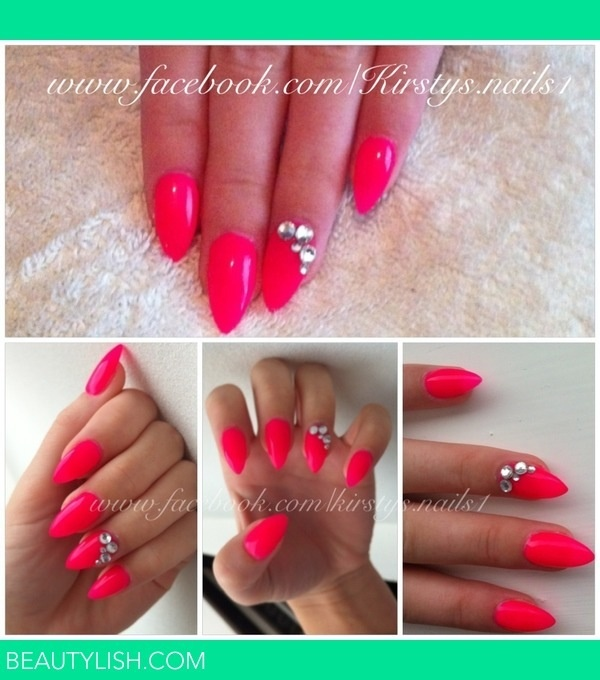 hot pink nails with diamonds -#main