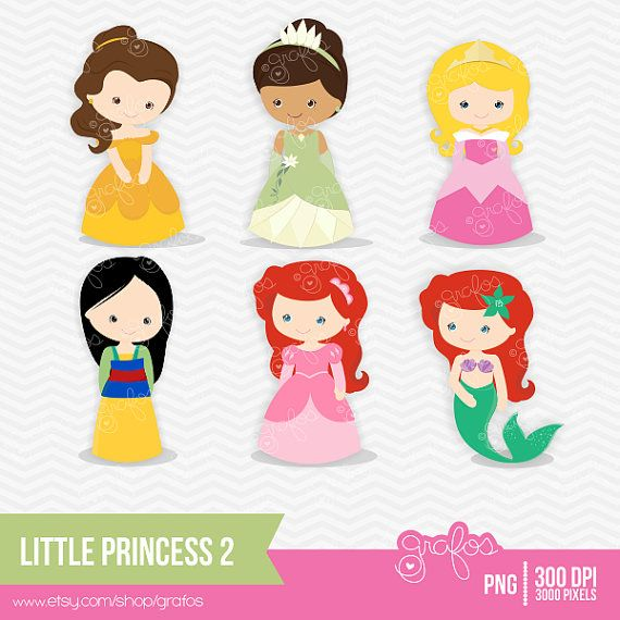 LITTLE PRINCESS 2 Digital Clipart ,Digital Clipart Princess Disney / Personal and Commercial Use / Instant Download