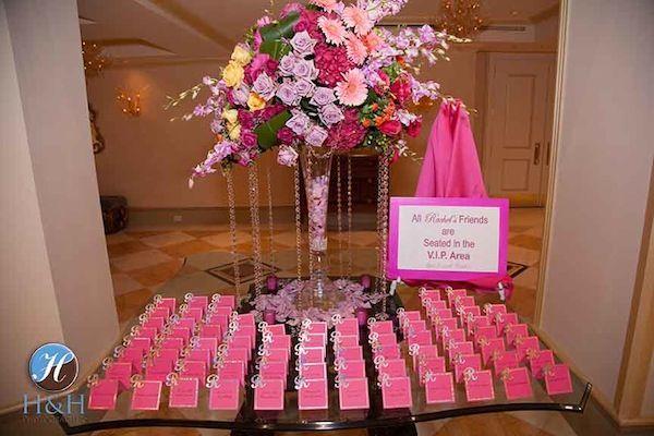 Hot Pink Escort Card Table | Bat Mitvah Party {H Photographers} - mazelmoments.com