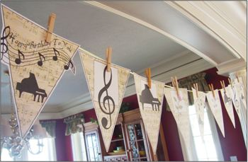 "Printable Banner ""Piano"".  Downloads for decor, party supplies, group lessons, and party favors. #pianoteaching #piano"