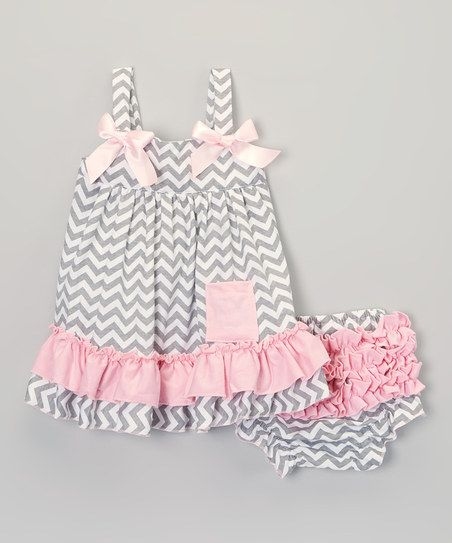 Gray & Pink Zigzag Swing Top & Diaper Cover - Infant