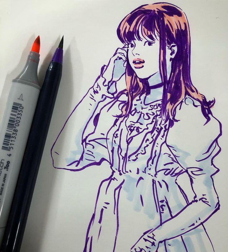 #여자잘그리는법 #brushpen #drawing