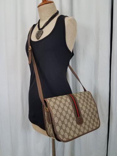 0d9a4d637232 Vintage Gucci Bag Purse GG Mono Web 80s Vinyl Leather PVC Strip Exclnt