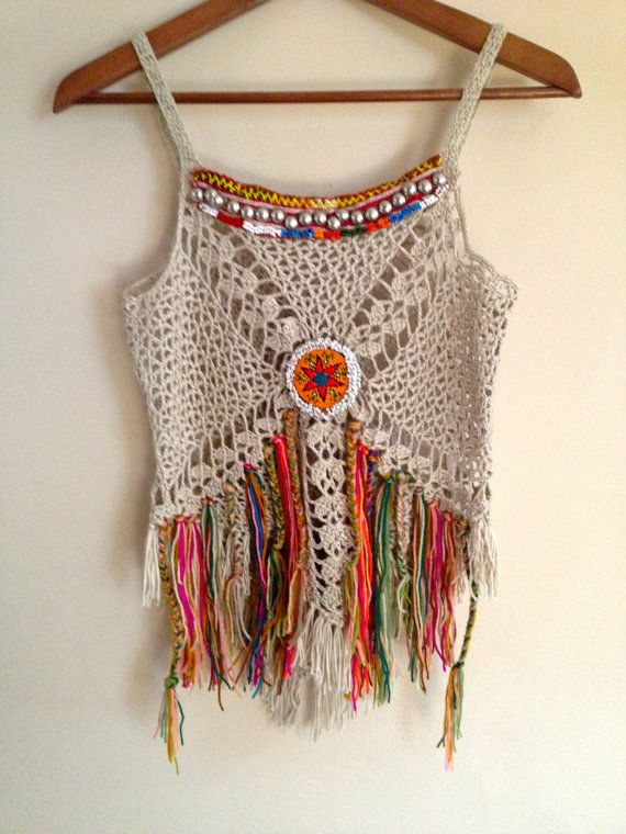Handmade crochet boho top, decorate with vintage jewelry.