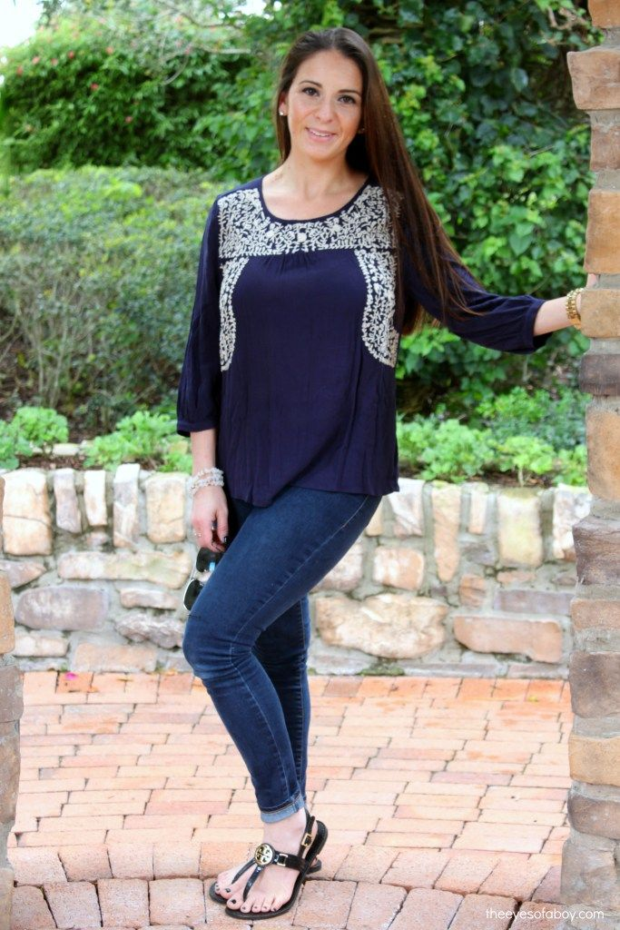 Skies are Blue Sia Embroidery Peasant Top from Stitch Fix review January 2016