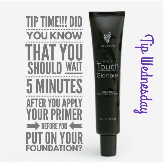 Did you know you should wait 5 minutes after you apply your Glorious Face Primer before you apply your foundation?!  Www.youniqueproducts.com/nicolepearce
