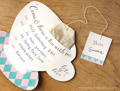Printable Tea Party Invitations   Could use for Mom's Day with this poem:  Poem on the Inside:   Here is a gift for mother's day   I'll try my best in every way.   But when you get upset with me,   Relax and have a cup of tea!    http://www.mrprintables.com/printable-tea-party-invitations-argyle.html