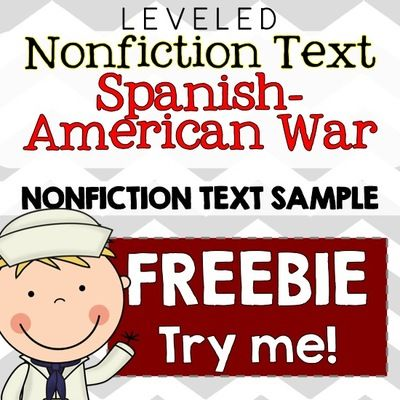 FREE Spanish-American War Common Core Nonfiction Leveled Reading Passages from The Sweetest Thing on TeachersNotebook.com (20 pages)