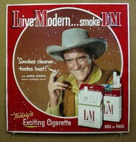 Gunsmoke's smoke. But I think James Arness died, like Arthur Godfrey, of lung cancer ...