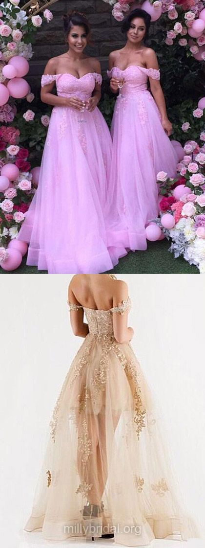 Pink Bridesmaid Dresses Long, Off-the-shoulder Bridesmaid Dress A-line, Tulle Wedding Party Dresses Lace Modern
