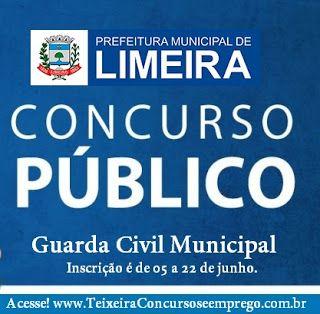 Prefeitura de Limeira - SP, abre concurso público para Guarda Civil Municipal - GCM - Teixeira Concursos - Apostila Concurso Opção