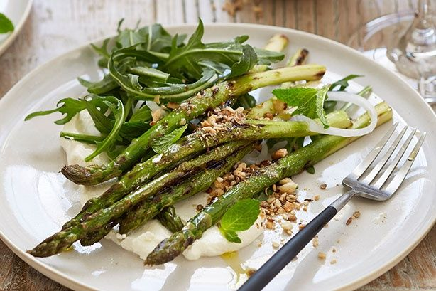 For a middle eastern feast try Curtis Stone'sbarbecued asparagus salad with rocket, dukkah, and labneh.