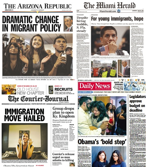 Newspaper front pages on Obama's new immigration policy to stop deporting DREAM-eligible youth.