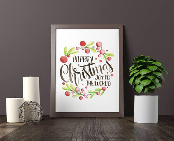 Watercolor Merry Christmas printable wall art joy to the