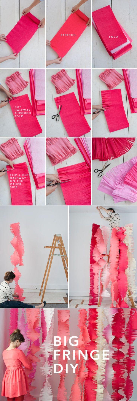 Decoración DIY fiestas papel crepé - ohhappyday.com - Big Fringe DIY