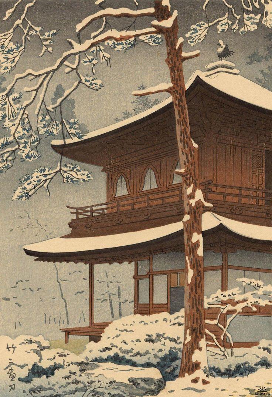 銀閣寺雪 [Snow at Ginkakuji Temple] - 浅野竹二 [Tasano Takeji] (1930)