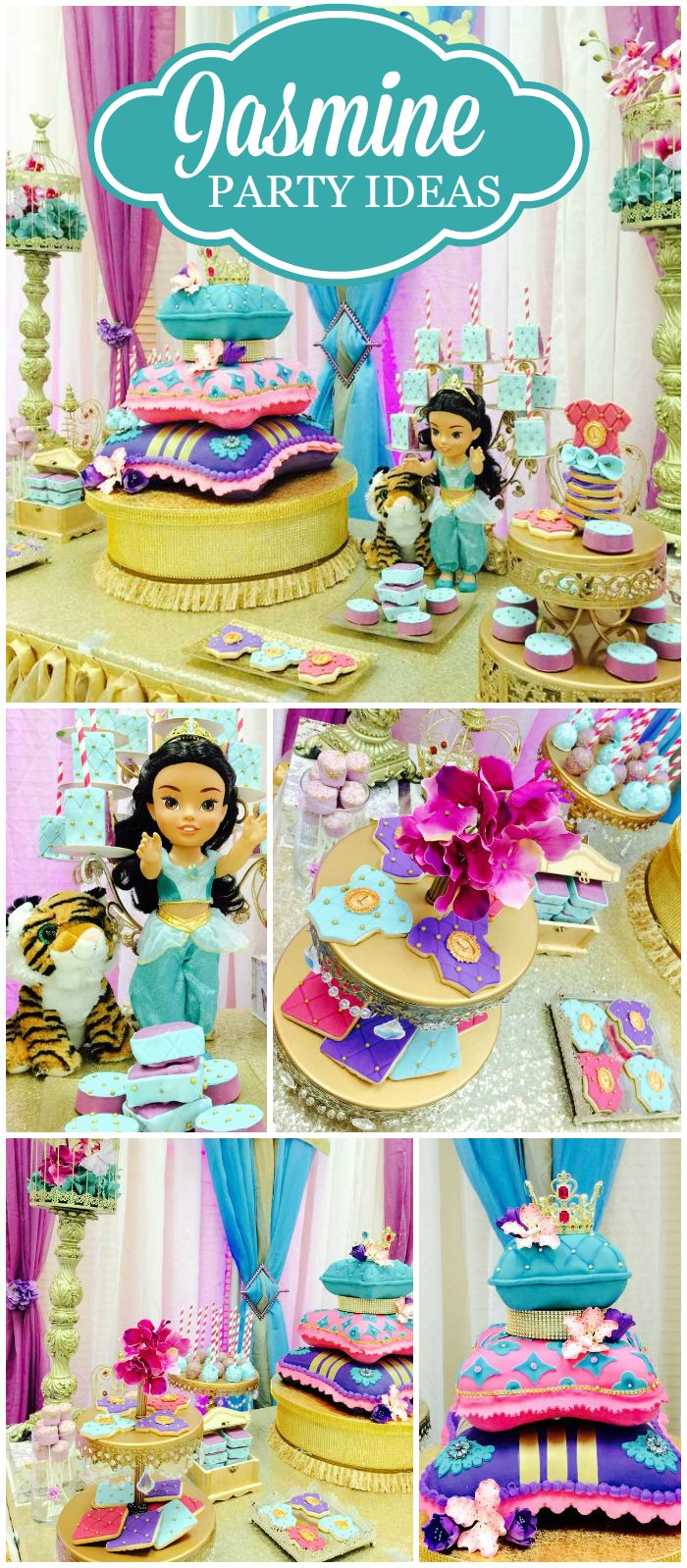 Such a fantastic Princess Jasmine party! Lots of beautiful details! See more party ideas at CatchMyParty.com!