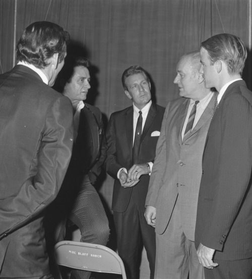 Johnny Cash chats with Arkansas' Winthrop Rockefeller - Pine Bluff, October 1968. Cash was playing shows for Rockefeller, who was up for reelection as governor that year.