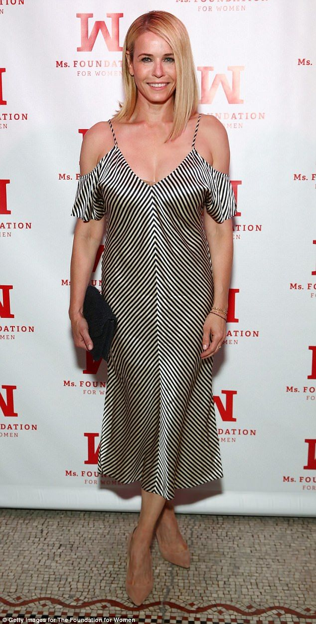 Showing her stripes:Chelsea Handler poses at the Ms. Foundation For Women 2017 Gloria Awards Gala in New York City on Wednesday