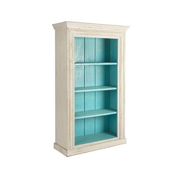Cream and Blue Bookcase - Casafina (€280) ❤ liked on Polyvore featuring home, furniture, storage & shelves, bookcases, blue furniture, antique white bookshelves, antique white bookcase, cream furniture and antiqued white furniture
