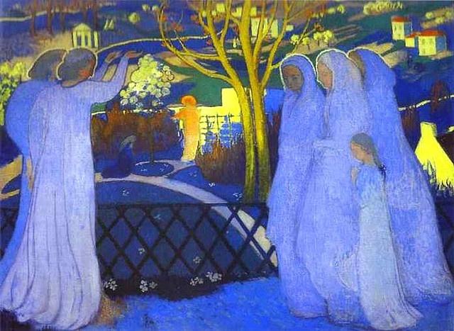 """Holy Women Near the Tomb/Saintes Femmes au tombeau,"" c.1894 by Maurice Denis (French, 1870-1943):"