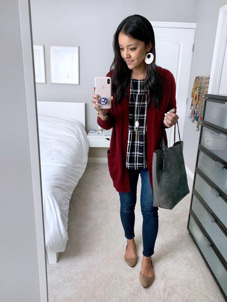 Maroon Cardigan + Black Plaid Top + Statement earrings + taupe flats + Skinnies