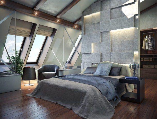 Спальня в стиле лофт - очень интересно и оригинально
