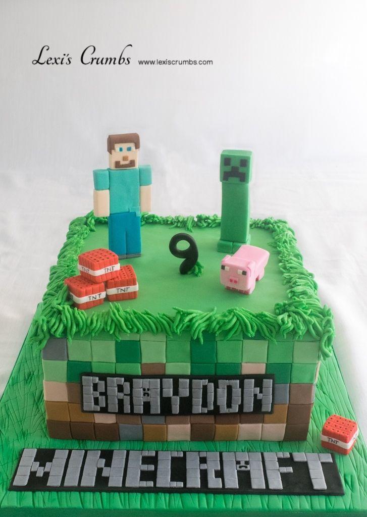 Minecraft cake www.lexiscrumbs.com