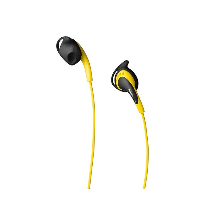 Jabra Active Corded Stereo Headset (Yellow) - The Jabra Corded Stereo are premium stereo sound quality headphones with clear detailed sound reproduction. Exercise for hours with comfortable earbuds that are  ergonomically-designed for your ears. They stay firmly in place – no matter how vigorous your workout gets. Control both your music and calls directly from the headset. The sound isolating ear buds are available in small, medium and large sizes.