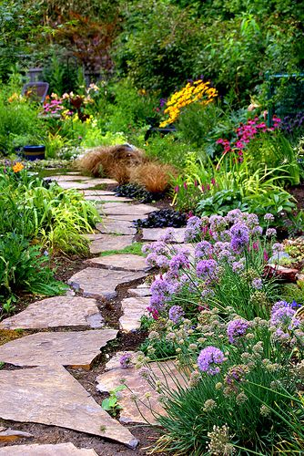Add a flagstone path and perennial border to your garden- great ideas and resources!