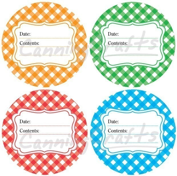 jelly jar label template - gingham canning jar labels round stickers for fruit and