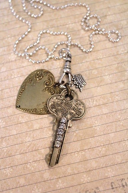 necklace ~ the key to my heart - no directions but simple if you have the components :)