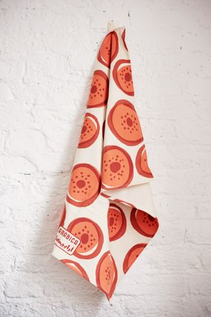 Screen printed cotton Arabica Strawberry kitchen tea towel.  Made in England