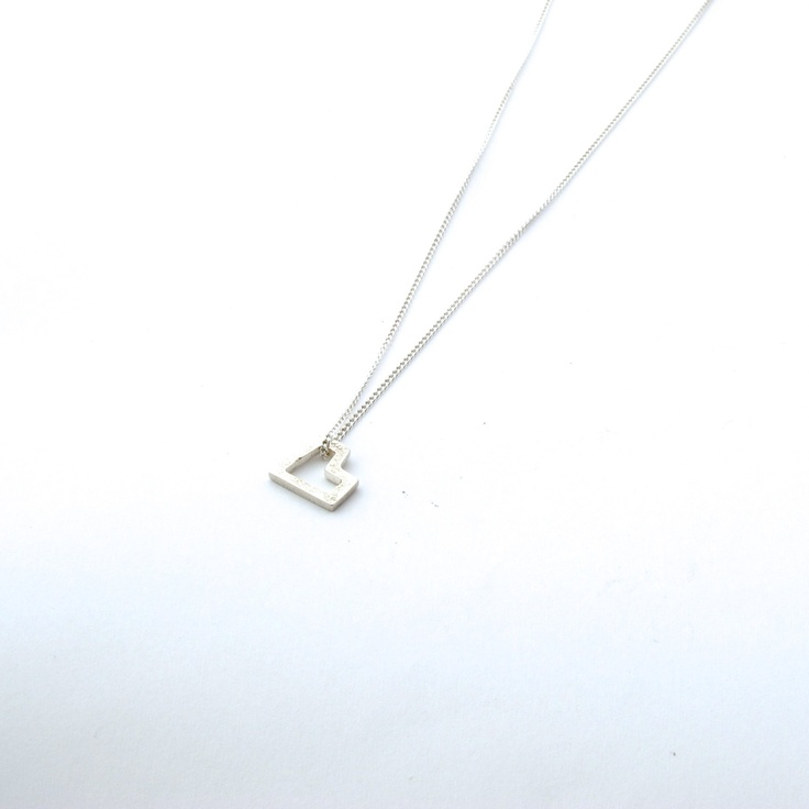 Small silver heart pendant - Geometric silver heart on silver chain. $33.00, via Etsy.