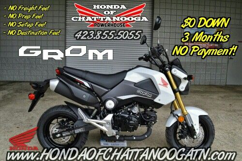 White Honda Grom For Sale - Chattanooga / Knoxville & Nashville TN area Motorcycle & PowerSports Dealer. 2015 Honda Sport Bike Models / Lineup at Honda of Chattanooga www.HondaofChattanoogaTN.com