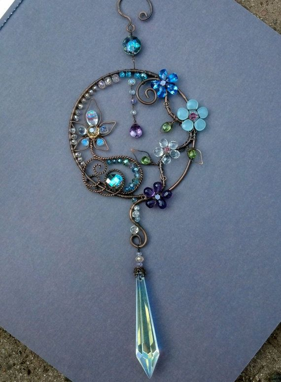 Gemstone Sun Catcher Crystal Copper Wire By