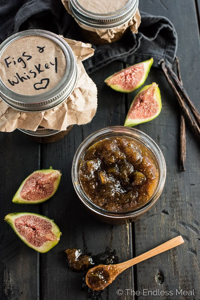 This Chunky Fig Jam has hints of whiskey and a punch of vanilla. Serve it on toast, yogurt, on a cheese platter, or eat it by the spoonful. | theendlessmeal.com